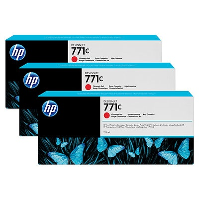 HP 771C Red chromatic DJ Ink Cart, 775 ml, 3-pack, B6Y32A