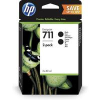 HP 711 2-pack 80-ml Black DesignJet Ink Cartridges