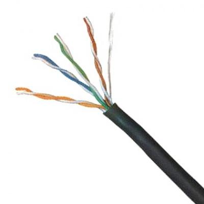 UTP kabel LYNX, Cat5E, drát, venkovní PE, černý, 305m