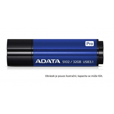 ADATA Flash Disk 64GB Superior S102 Pro, USB 3.1, titan modrá (R:100/W:50 MB/s)