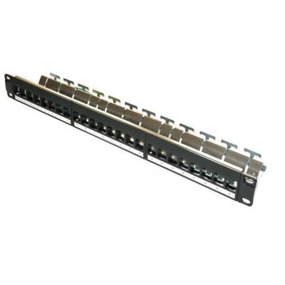 """19"""" modulární stíněný patch panel XtendLan 24port, černý - pro Cat6A keystone"""