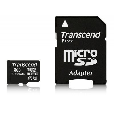TRANSCEND MicroSDHC karta 8GB Ultimate, Class 10 UHS-I 600x, MLC + adaptér
