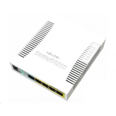 MikroTik RouterBOARD CSS106-1G-4P-1S (RB260GSP), TF470 CPU,nastavitelný switch, 5x LAN, 1xSFP slot, PoE OUT, vč. SwOS
