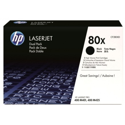 HP 80X Black 2-pack LJ Toner Cart, 2 x 6 900 str, CF280XD