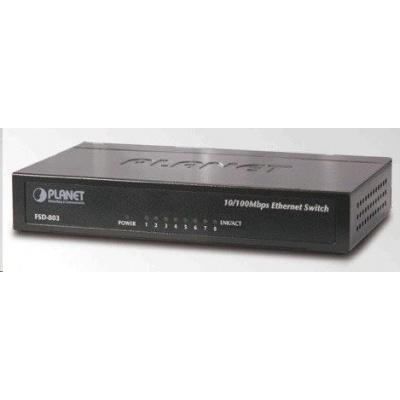 """Planet FSD-803 Switch, 8x10/100Base-TX, 10"""", kov, desktop, fanless"""
