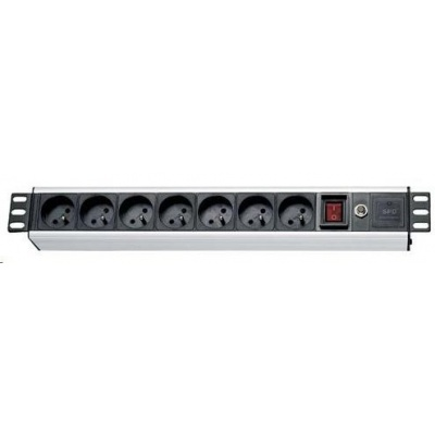 """19"""" rozvodný panel, 19"""", 7x230V, ČSN, přepěťová a proudová ochrana, s vypínačem, kabel 1,8m, výška 1.5U"""