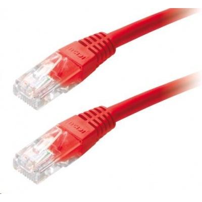 Patch kabel Cat5E, UTP - 1m, červený
