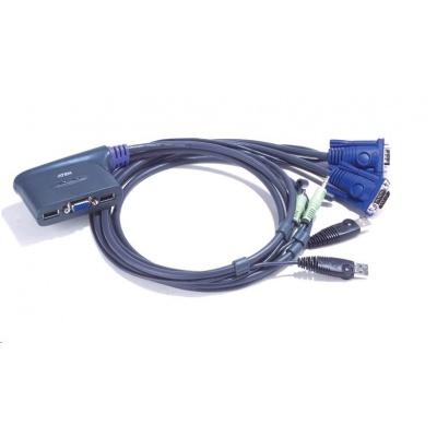 ATEN přepínač KVM 2-port VGA KVMP USB2.0, mini, audio, 0,9m kabely