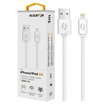 Aligator datový a nabíjecí kabel, konektor Lightning, 2A,1m, bílá