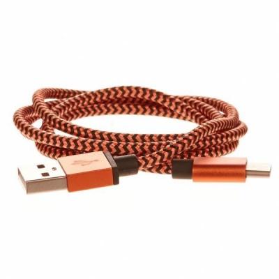 CELLFISH pletený datový kabel z nylonového vlákna, USB-C, 1 m, oranžová