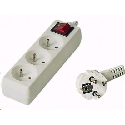 PREMIUMCORD Prodlužovací přívod 230V 5m, 3 zásuvky + vypínač, bílá