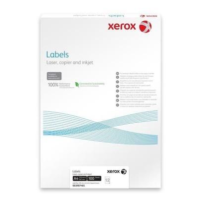 Xerox Papír - Bílé samolepicí štítky pro černobílý tisk - ostré rohy (Labels 1UP 210x297, 100 listů, A4)
