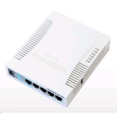MikroTik RouterBOARD RB951G-2HnD, 600MHz CPU, 128MB RAM, 5x LAN, integr. 2.4GHz Wi-Fi, vč. L4 licence