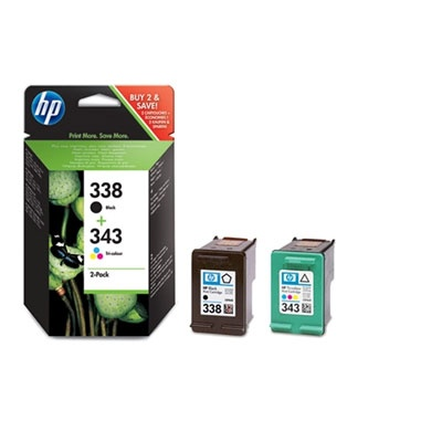 HP 338/343 Combo-B/CMY Ink Cart, 11/7 ml, SD449EE