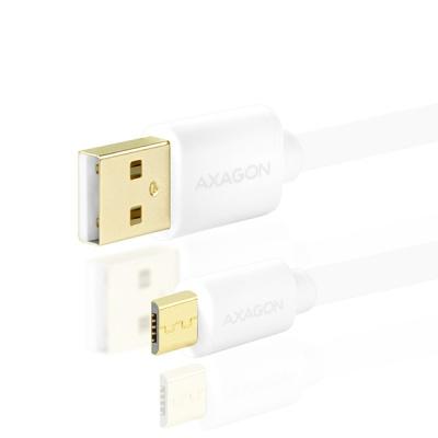 AXAGON - BUMM-AM10QW, HQ Kabel Micro USB <-> USB A, datový a nabíjecí 2A, bílý, 1 m