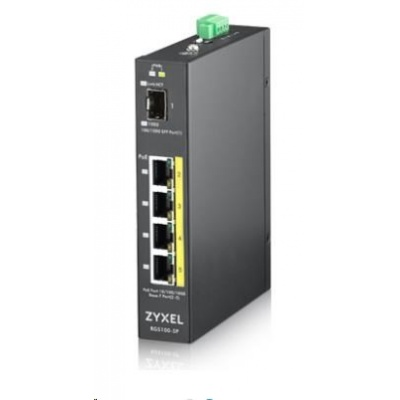 Zyxel RGS100-5P 5-port Gigabit PoE switch, 4x GbE + 1x SFP, PoE budget 120W, DIN rail/Wall mount, IP30