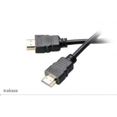 AKASA kabel  HDMI, podpora Ethernet, 2K a 4K rozlišení, pozlacené konektory, 5m