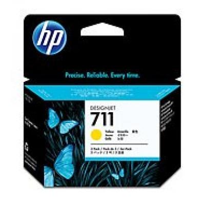 HP 711 Yellow DJ Ink Cart, 29 ml, 3-pack, CZ136A