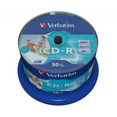 VERBATIM CD-R(50-Pack)Spindle/Inkjet Printable/52x/700MB / Non ID Branded