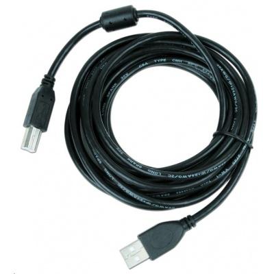 GEMBIRD Kabel USB 2.0 A-B propojovací 3m Premium (černý, ferit, zlacené kontakty)