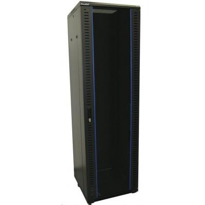 """XtendLan 19"""" stojanový rozvaděč 42U,  h=800mm, bezpečnostní sklo, nosnost 500kg,vč.koleček,černý"""