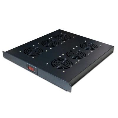"""19"""" ventilační jednotka, 6 ventilátorů, LCD display, termostat, hloubka 500mm, černá"""