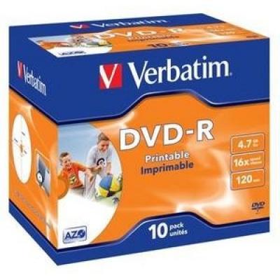 VERBATIM DVD-R (10-pack)Printable/16x/4.7GB/Jewel
