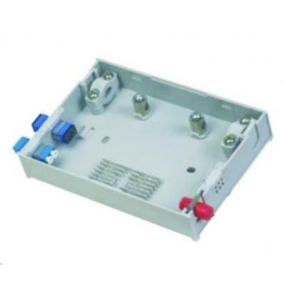 Optický mini rozvaděč, 4 porty, 1x průchozí kabel, 6 svarků, ST/SC/Duplex LC/pigtaily, stupačkové/průběžné