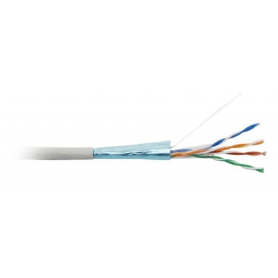 FTP kabel LYNX, Cat6, drát, PVC, Dca, šedý, 305m cívka