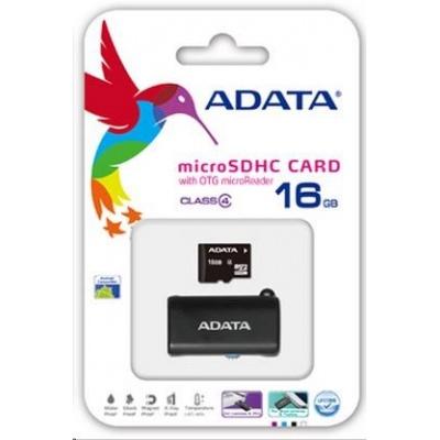ADATA MicroSDHC karta 16GB Class 4 + OTG čtečka USB 2.0, microUSB
