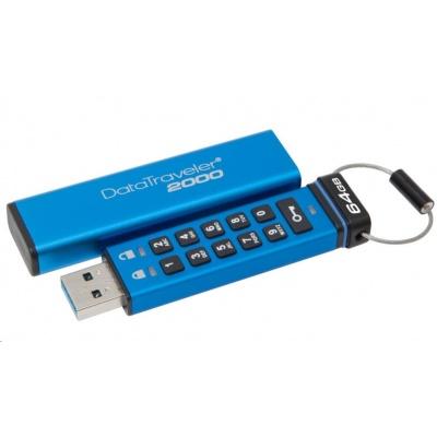 Kingston 64GB USB 3.0 DataTraveler 2000 s klávesnicí a 256bitovým šifrováním